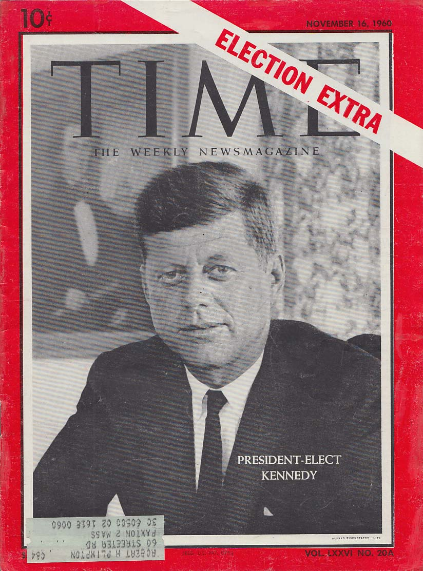 TIME ELECTION EXTRA 11/16 1960 President-Elect John F Kennedy
