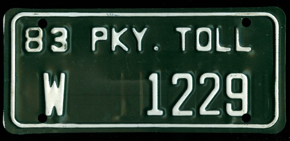 Connecticut Wallingford Wilbur Cross Parkway Toll License Plate W 1229 1983