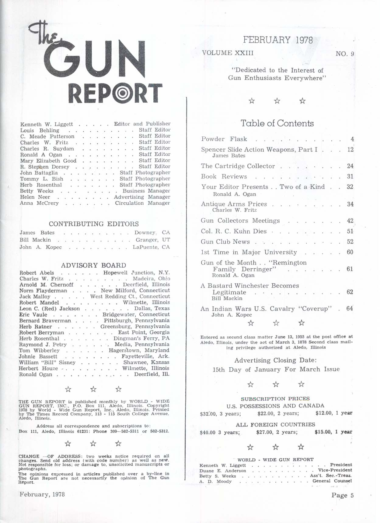 GUN REPORT Spencer Slide Action Weapons Colonel R C Kuhn Remington 2 1978