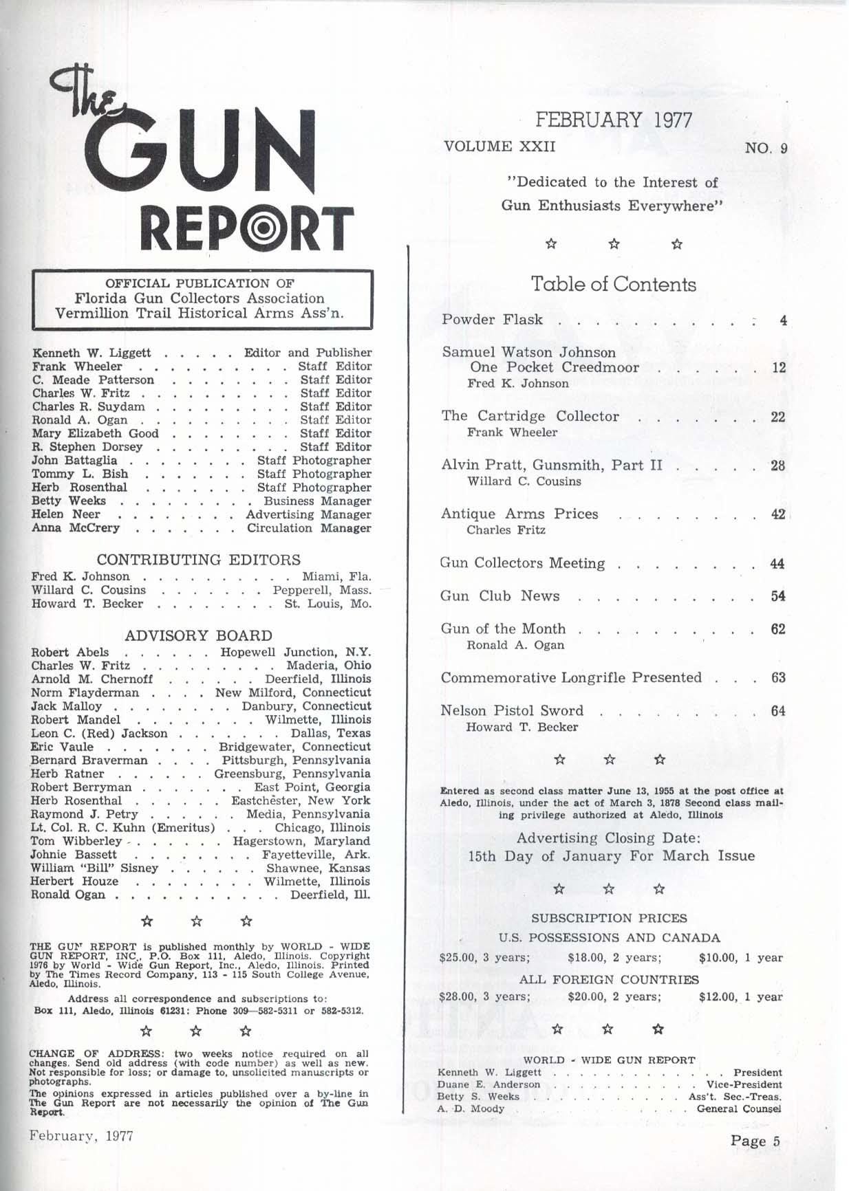 GUN REPORT Samuel Watson Johnson Creedmoor horation Nelson Pistol Sword 2 1977