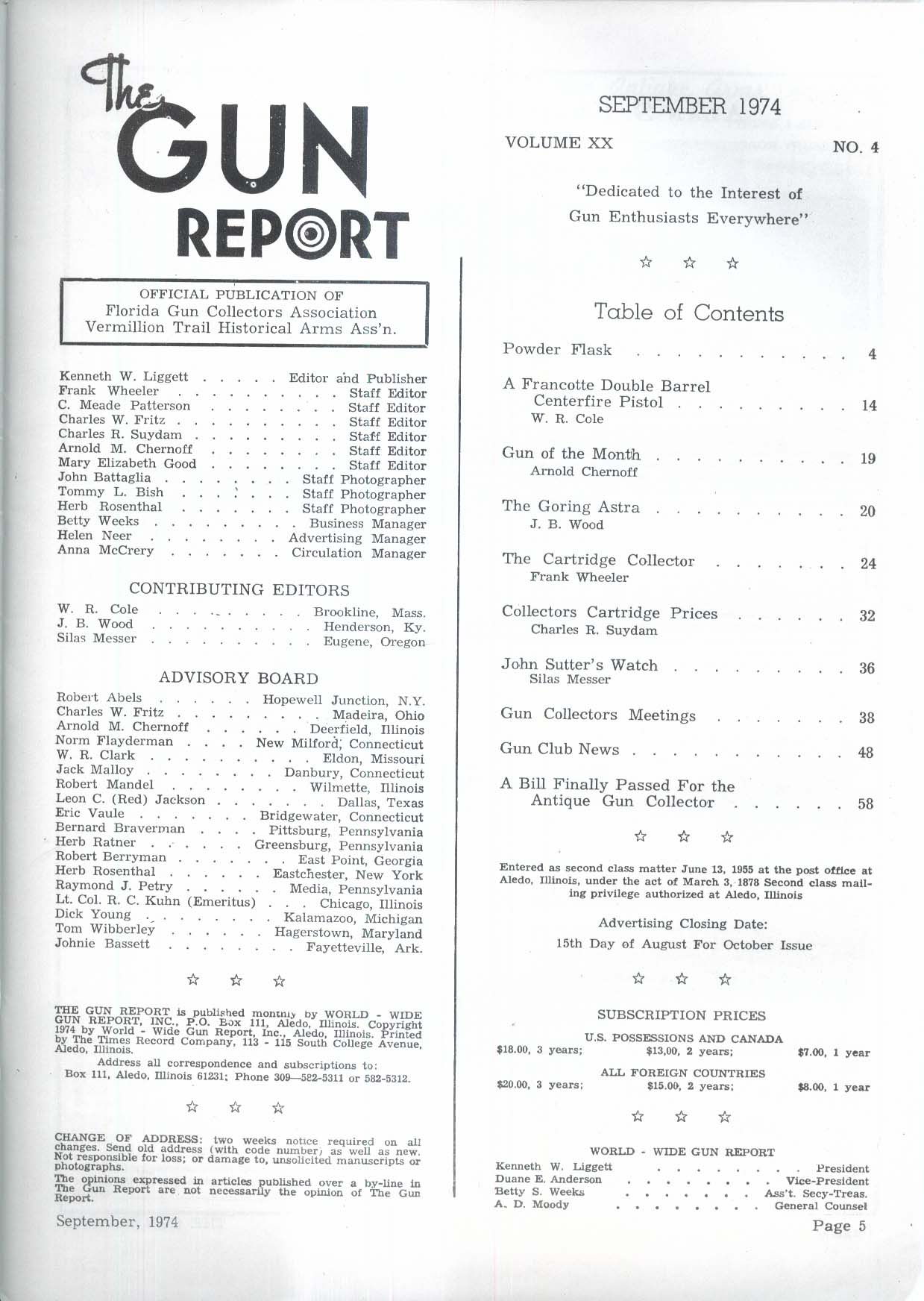GUN REPORT Grancotte Double Barrel Pistol Goring Astra 9 1974