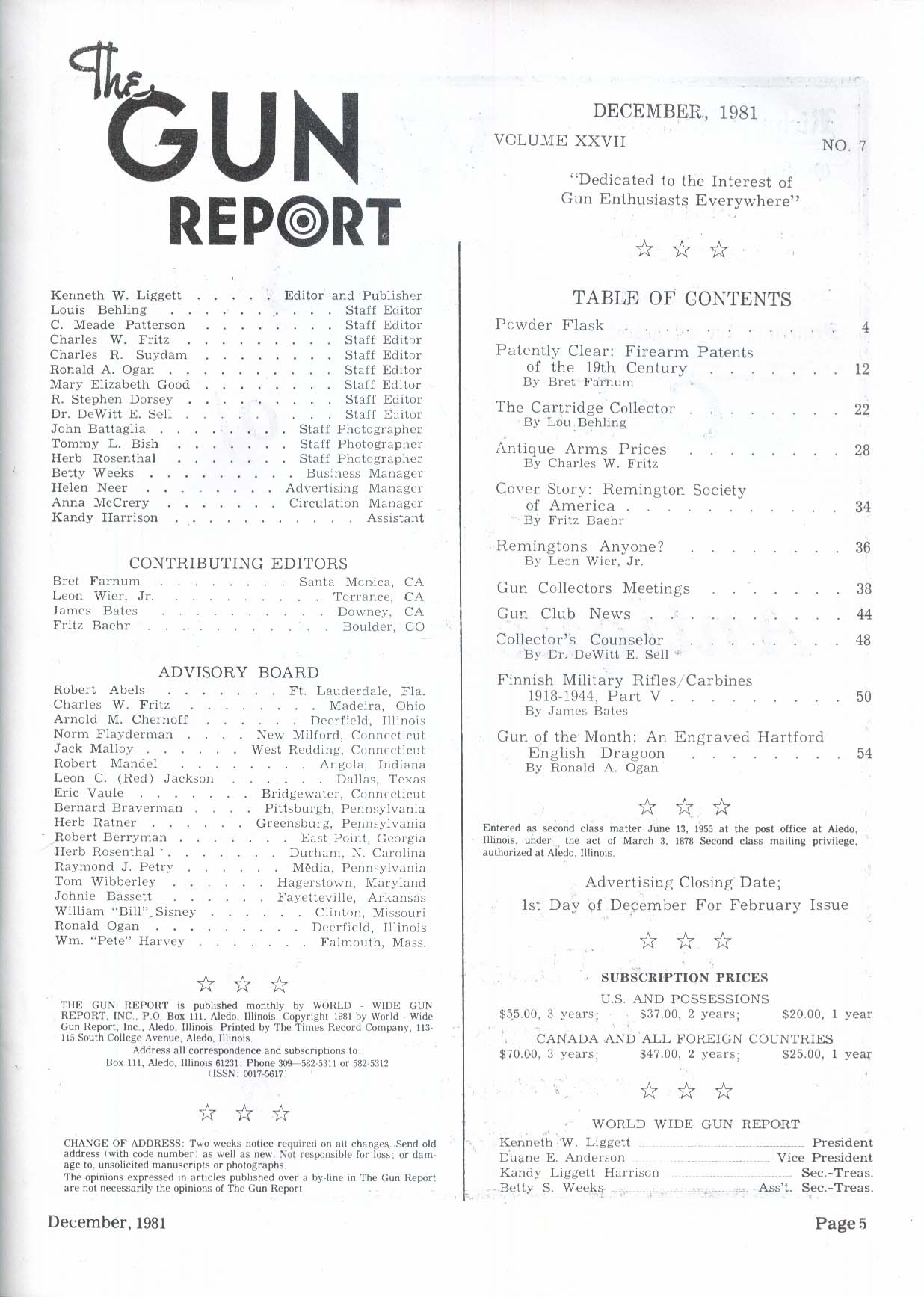 GUN REPORT Remington-Beals Revolver Remington Society Finnish Military 12 1981