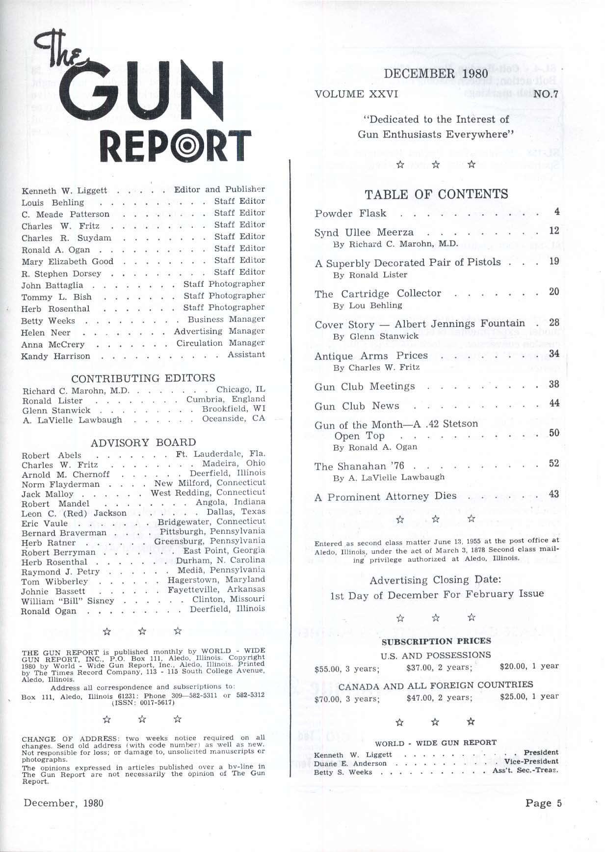 GUN REPORT Synd Ullee Meerza Winchester 1866 Albert Jennings Fountain 12 1980