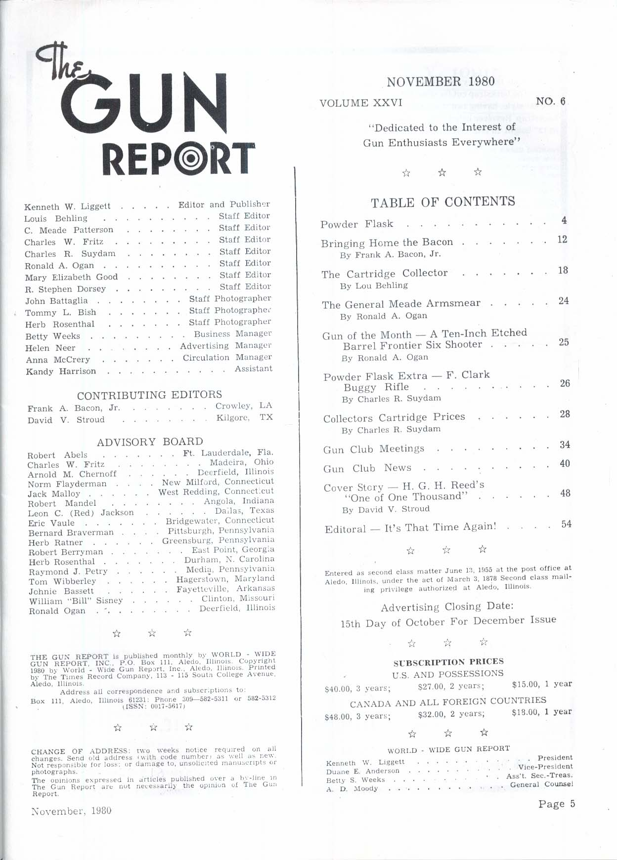 GUN REPORT Reed Winchester Thomas K Bacon 11 1980