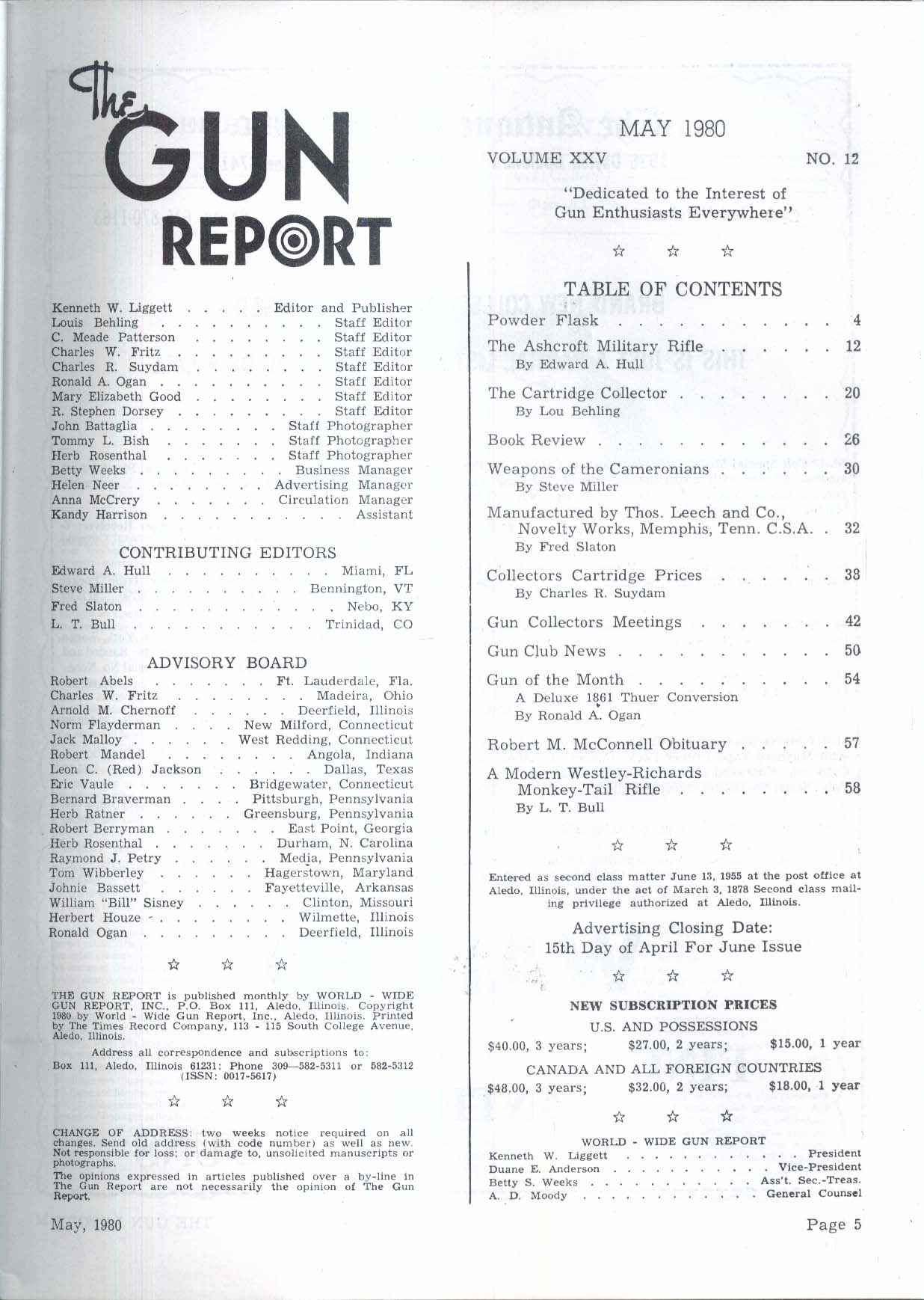 GUN REPORT Ashcroft Military Rifle Curtis Carbine Cameronians + 5 1980