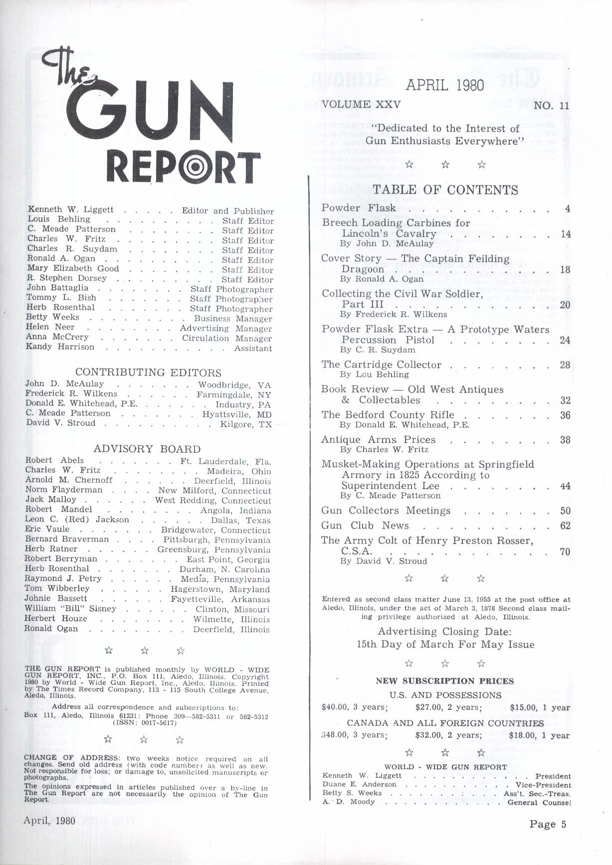 GUN REPORT Cavalry Carbines Hartford English Dragoon Bedford Rifle + 4 1980