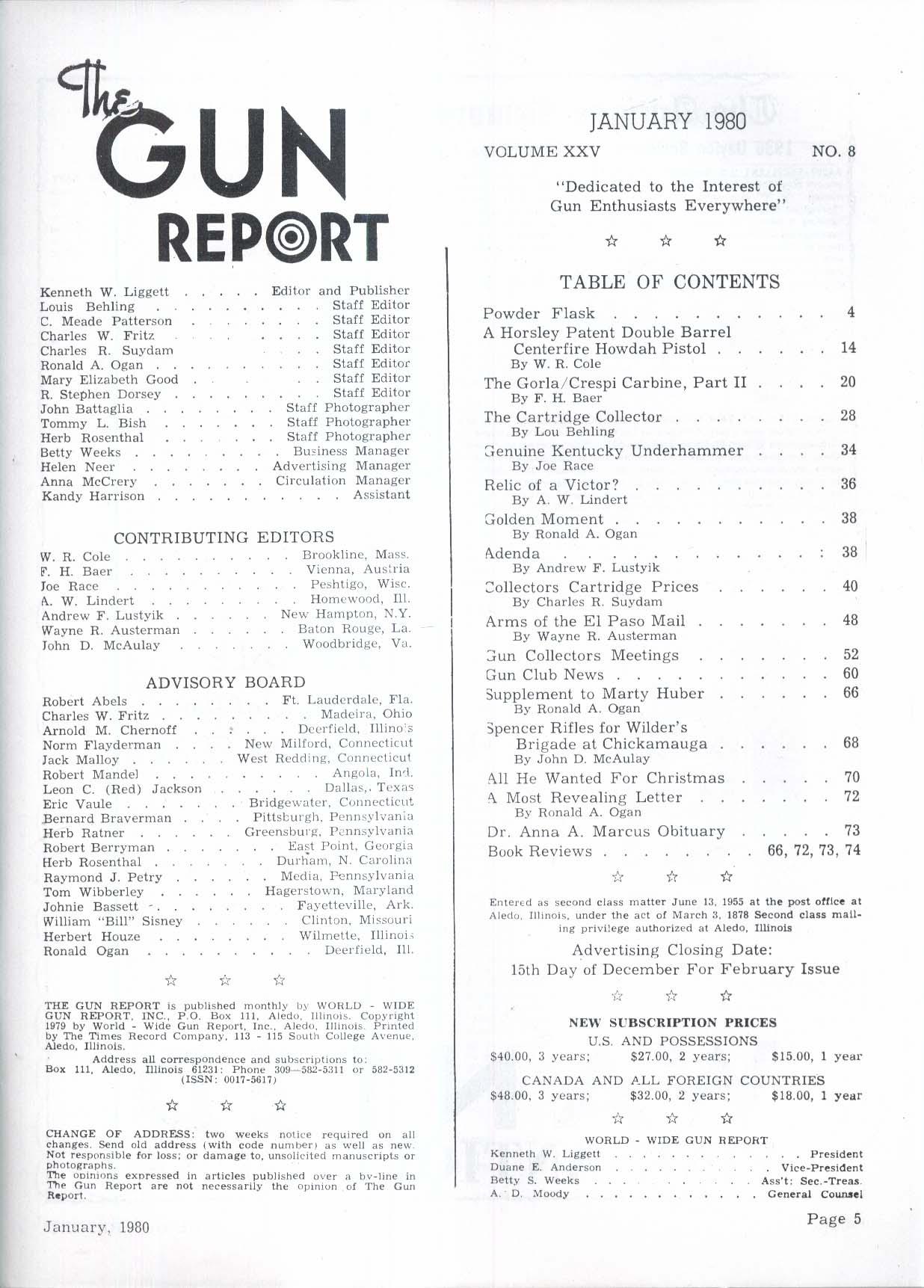 GUN REPORT Horlsey Patent Howdah Pistol Gorla/Crespi Carbine Kentucky + 1 1980