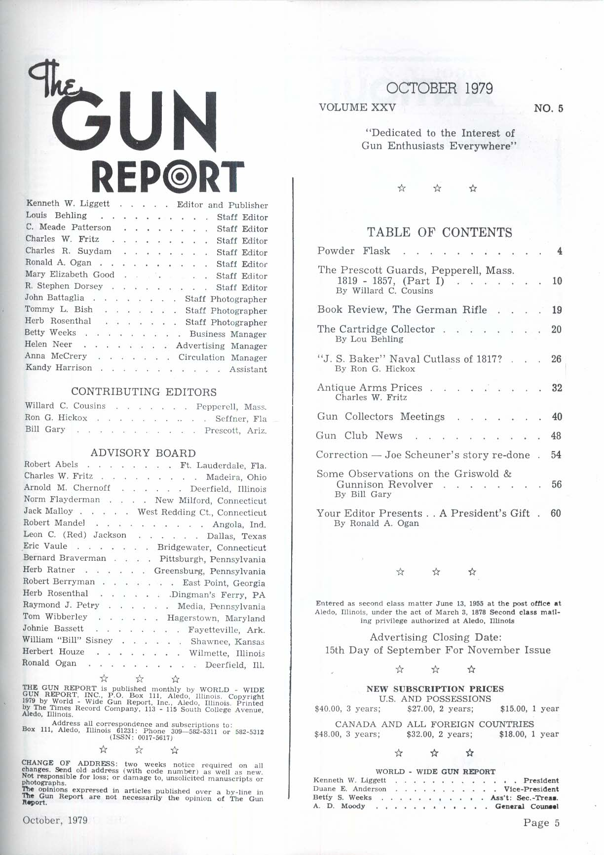 GUN REPORT Prescott Guards Pepperell MA Flintlock J S Baker Cutlass + 10 1979
