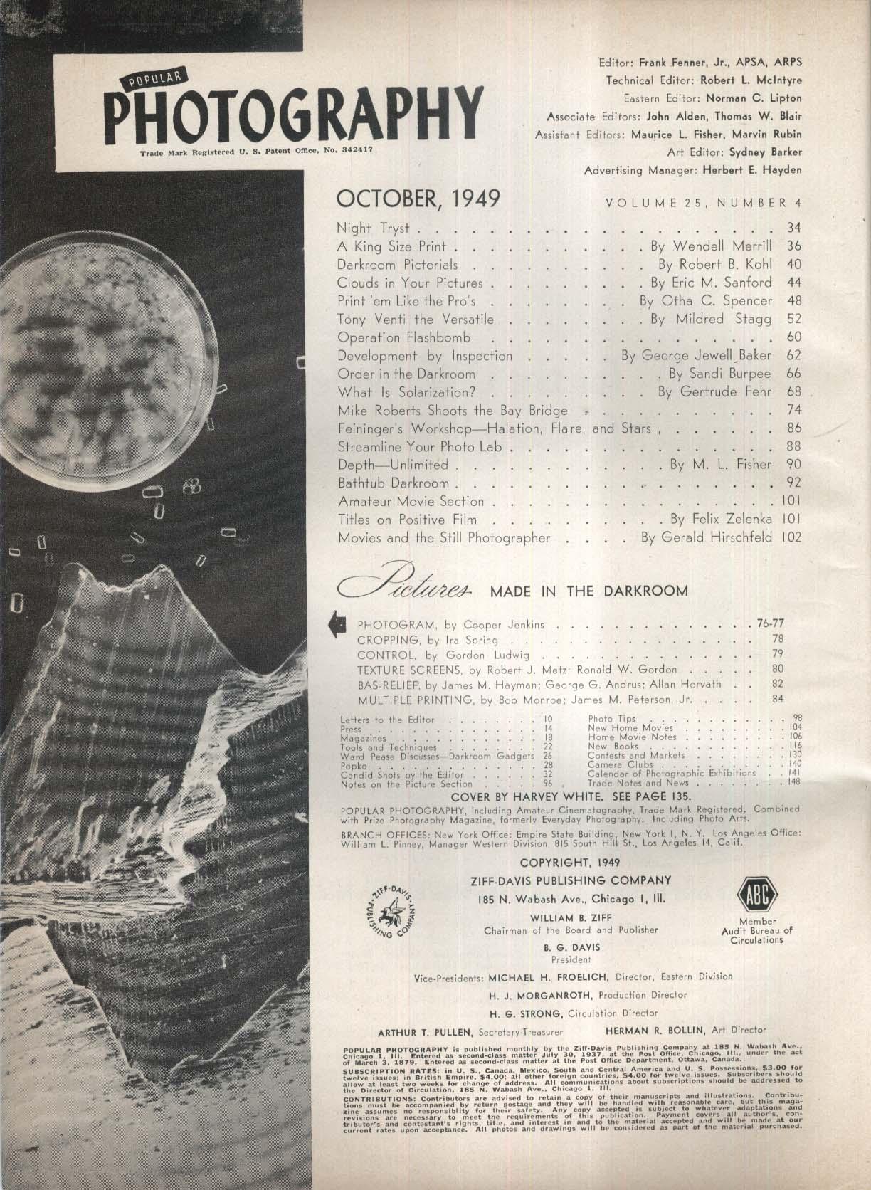 POPULAR PHOTOGRAPHY Tony Venti Mike Roberts Feininger Workshop Halation 10 1949