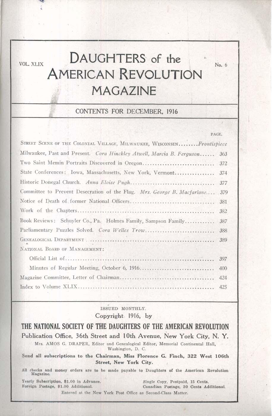 DAUGHTERS of the AMERICAN REVOLUTION Saint Memin Schuyler Holmes Sampson 12 1916