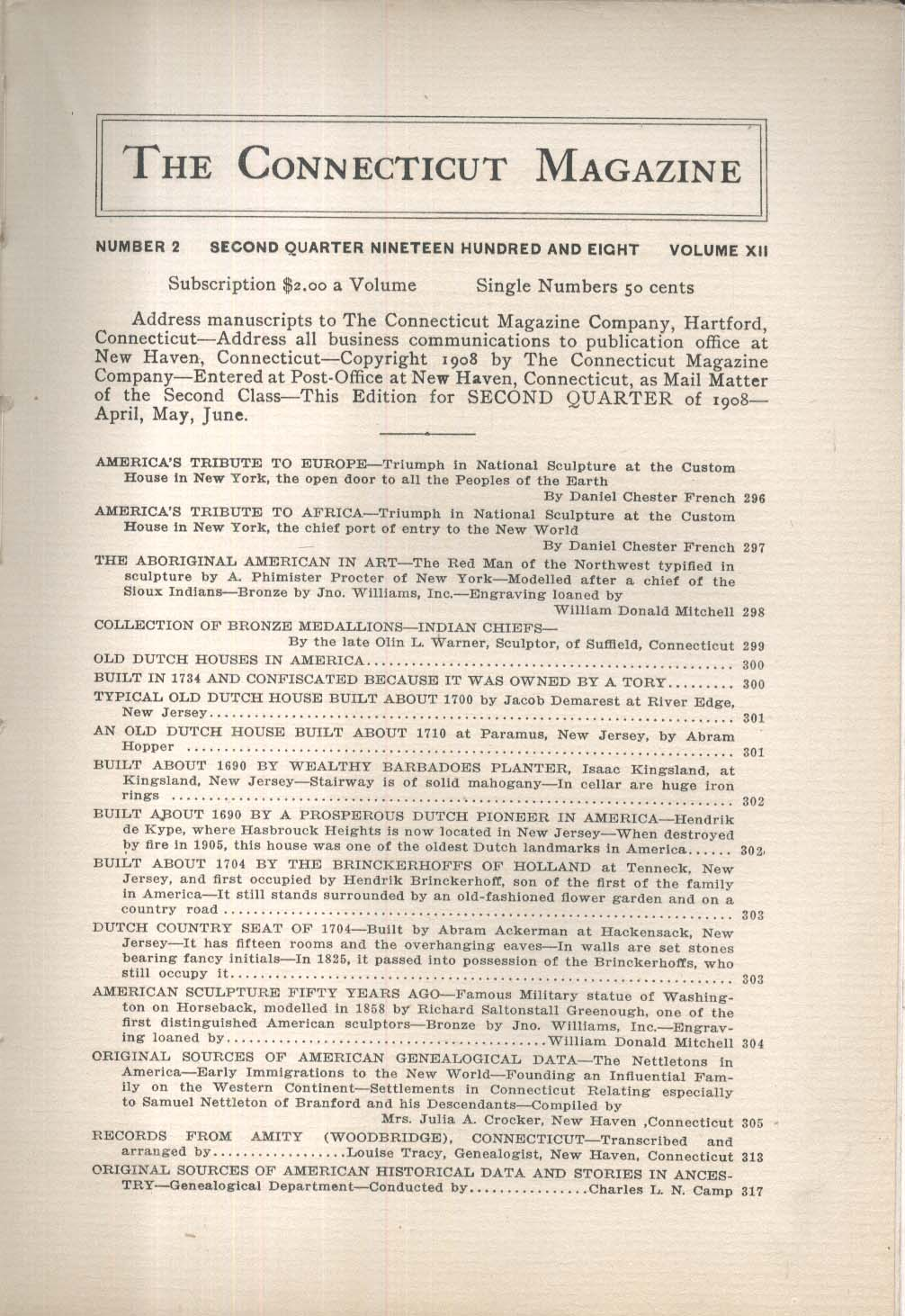 CONNECTICUT MAGAZINE Theodore Roosevelt Prudence Crandall Samuel Kirkland + 1908