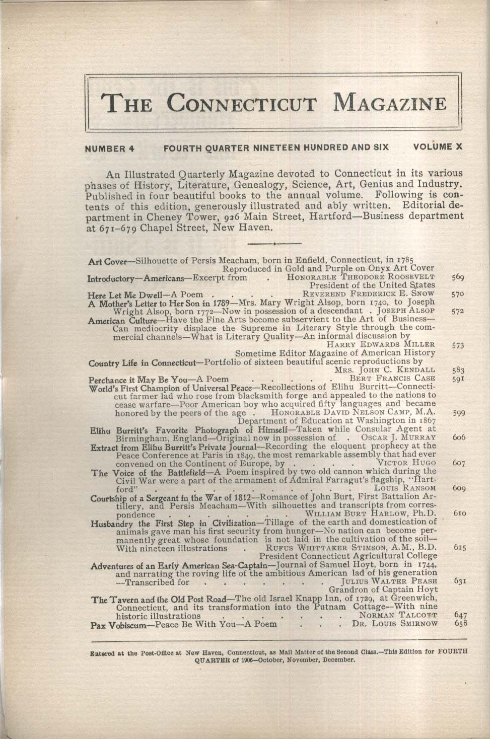 CONNECTICUT MAGAZINE Mary Wright Alsop Elihu Burritt 1906