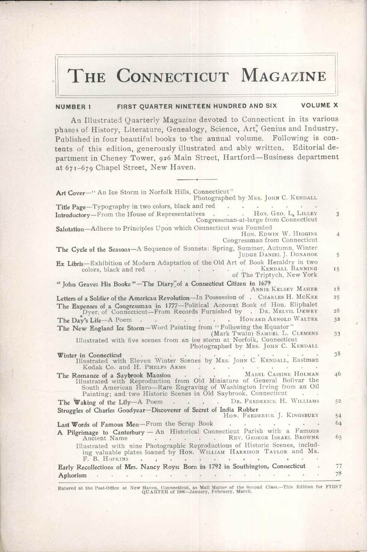 CONNECTICUT MAGAZINE John Grave Samuel Clemens Mark Twain Charles Goodyear 1906