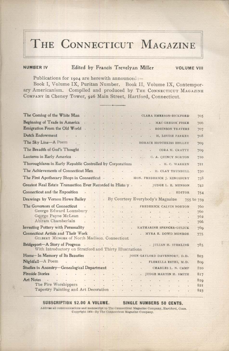 CONNECTICUT MAGAZINE Louis Orr John Guernsey Bridgeport Heredity Pottery 6 1904