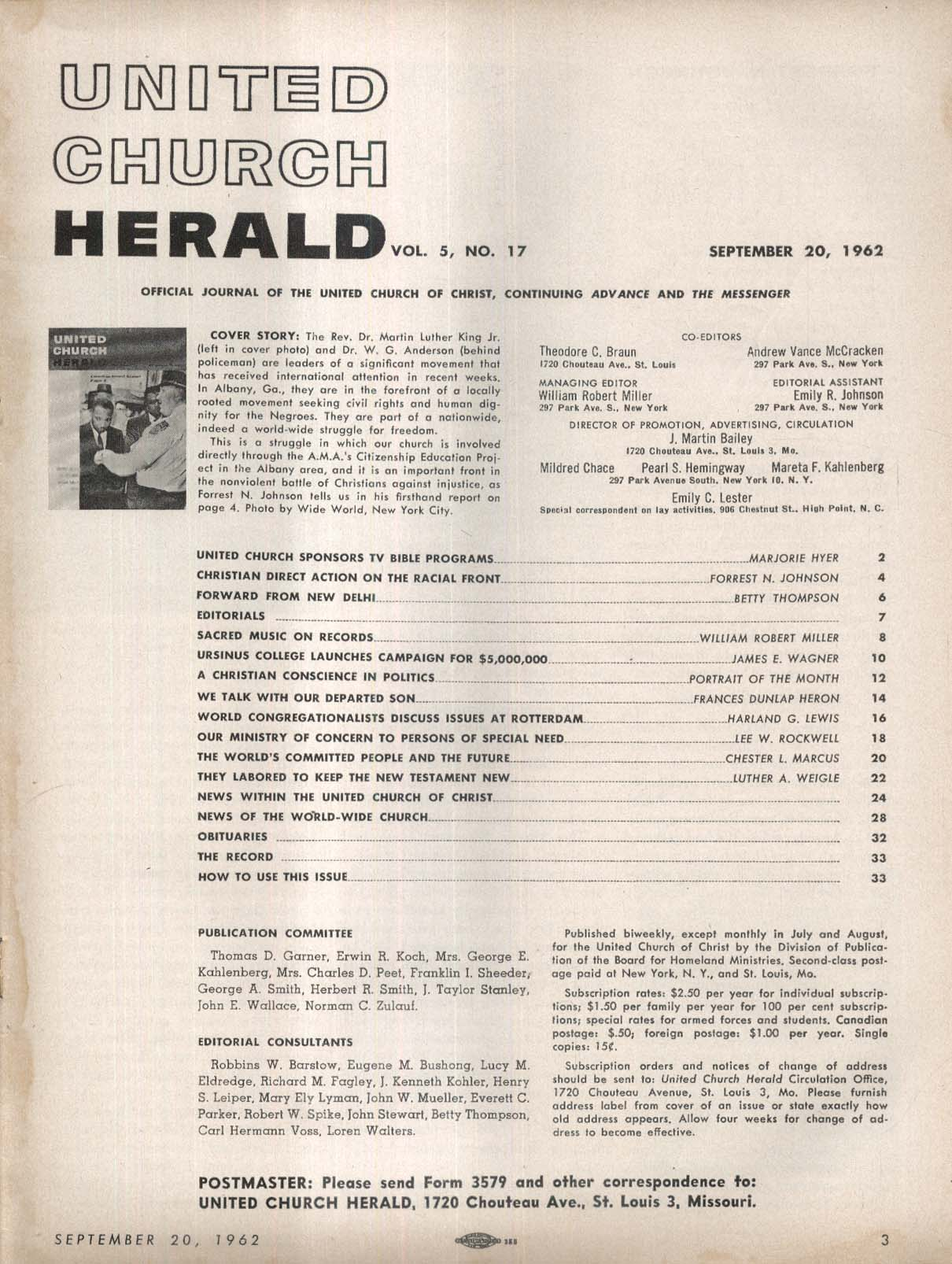 UNITED CHURCH HERALD Martin Luther King Jr W G Anderson 9/20 1962