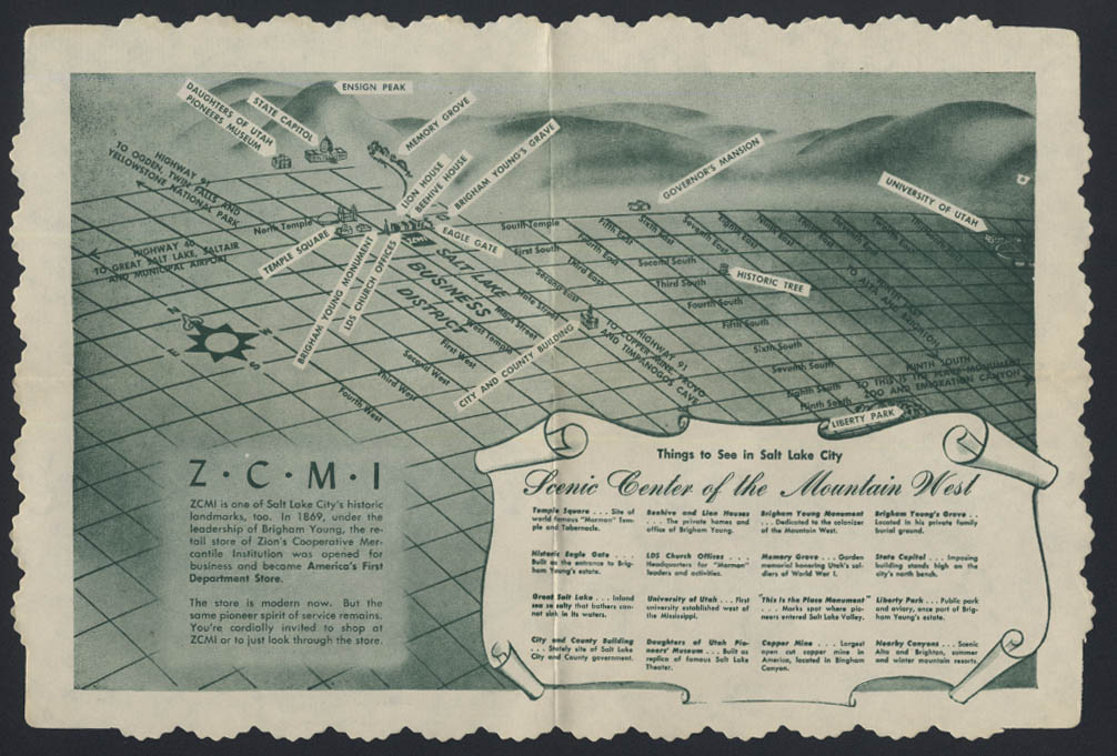 ZCMI Zion's Cooperative Mercantile Institution paper placemat ca 1950s