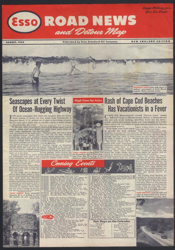 Esso Gasoline Road News & Detour Map 8 1949 New England Edition