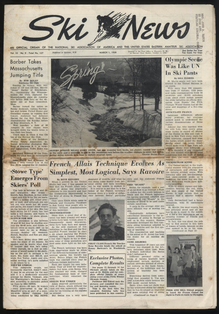 SKI NEWS 3/1 1948 French Allis Technique; Olympic report; other meets