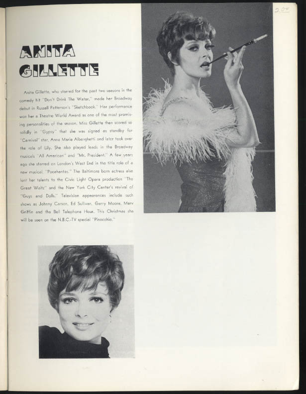 Anita Gillette George Voskevec Martin Ross Cabaret theatre program 1960s