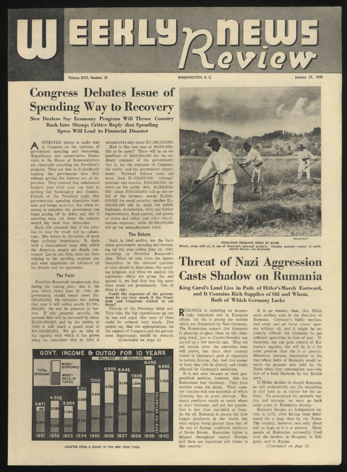 WEEKLY NEWS REVIEW school paper 1/23 1939 Hitler in Rumania; US Recovery