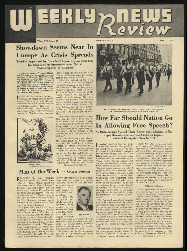 WEEKLY NEWS REVIEW school paper 4/24 1939 Axis Showdown Near; Free Speech?