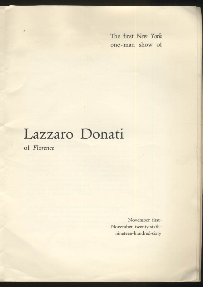 Lazzaro Donati of Florence art exhibition catalog 1961 Monede Gallery NYC