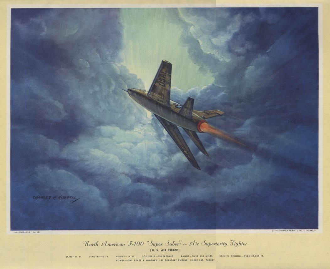 USAF North American F-100 Super Sabre Hubbell calendar print 1955