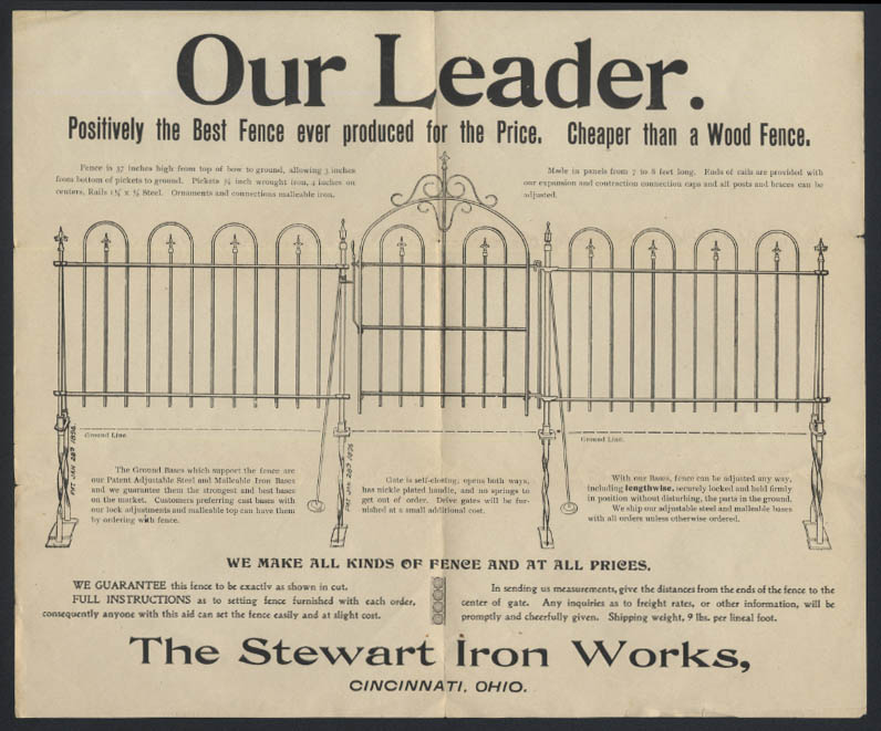 Stewart Iron Works Our Leader Iron Fence sales flyer ca 1900