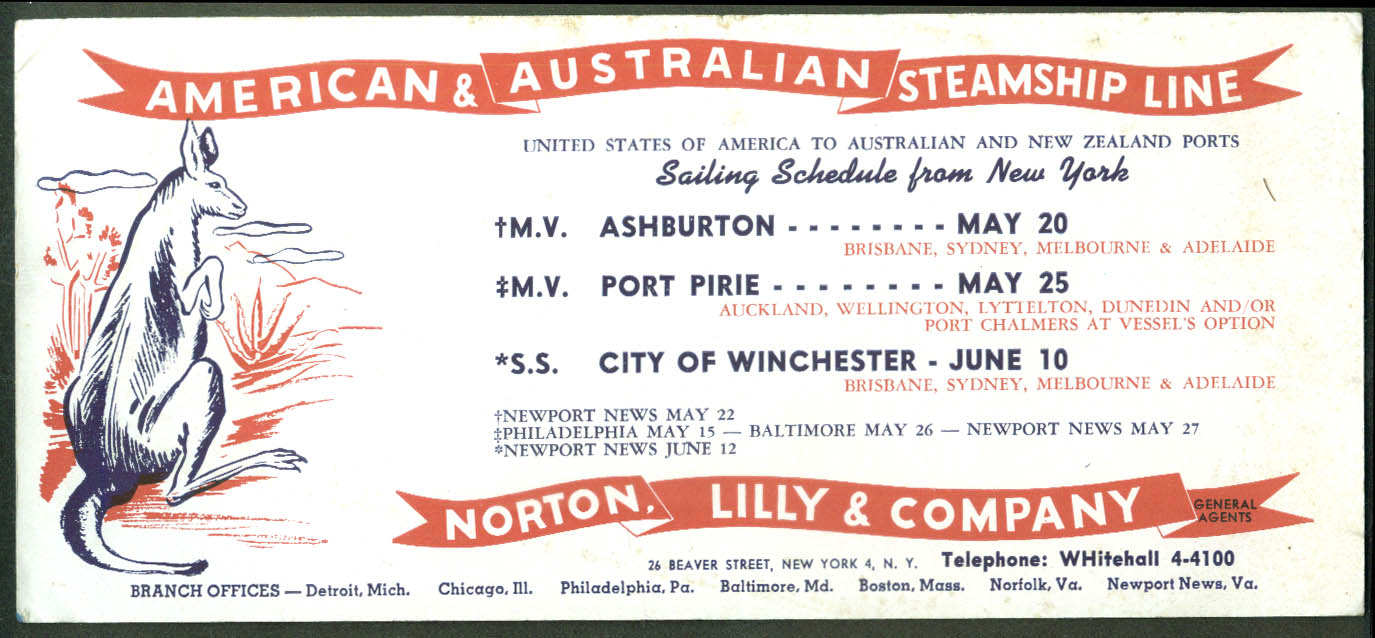 American & Australian Steamship Line blotter S S City of Winchester + 1940s