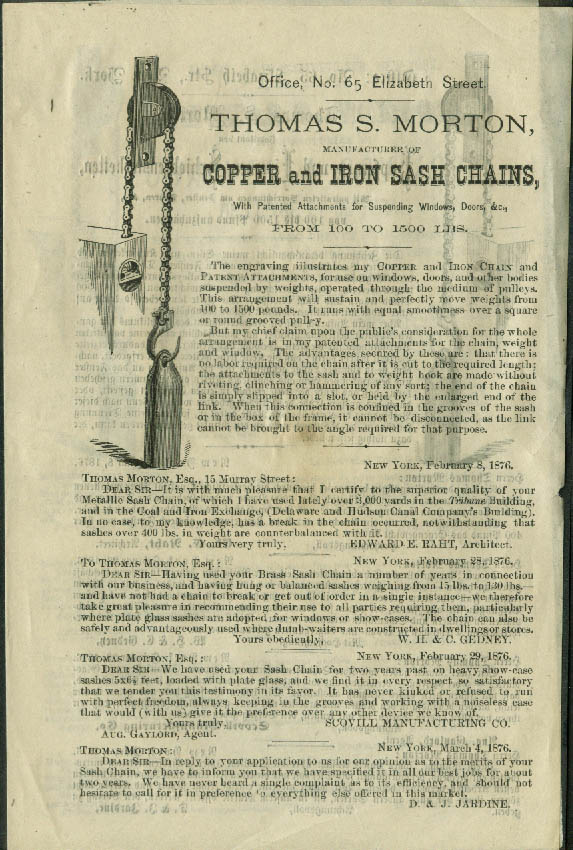 Thomas S Morton Copper & Iron Sash Chains sales folder 1876