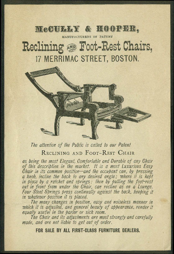 McCully & Hooper Reclining & Foot-Rest Chairs sales flyer ca 1900