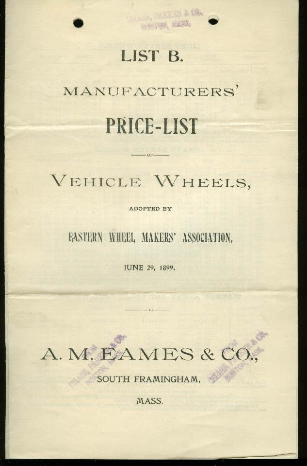 A M Eames Vehicle Wheels Price List 1899 South Framingham MA