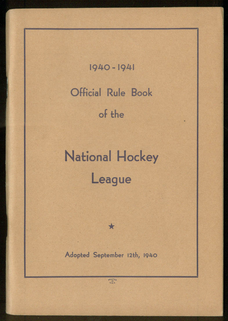 National Hockey League Official Rule Book 1940-1941