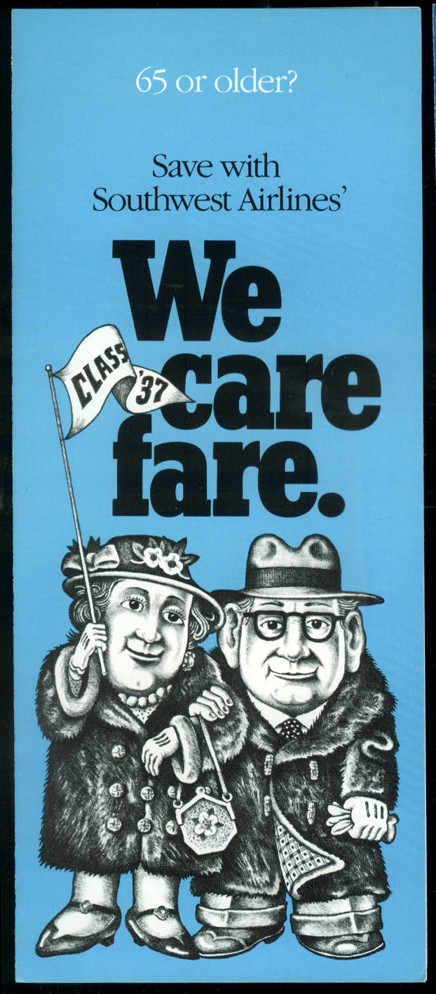 Southwest Airlines We Care Fare for Over 65 airline folder 1990s