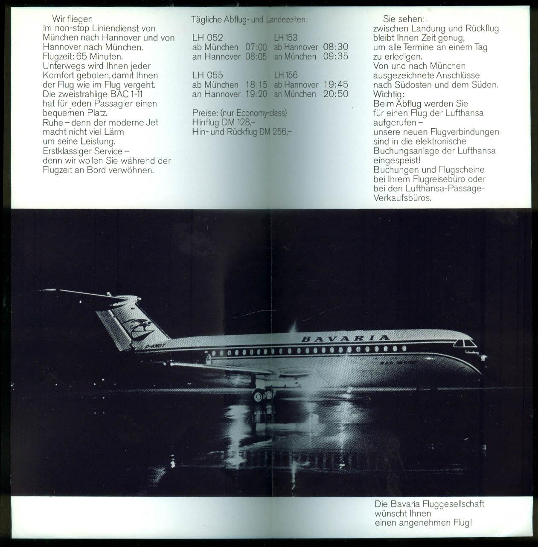 Bavaria Fluggesellschaft Munich-Hannover airline timetable 1960s