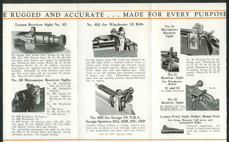 Lyman Rifle Sights Better Aim at Target of Game folder catalog 1935
