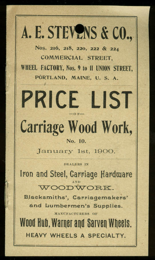 A E Stevens Carriage Wood Work Price List 1900 wagon cart sled Portland ME