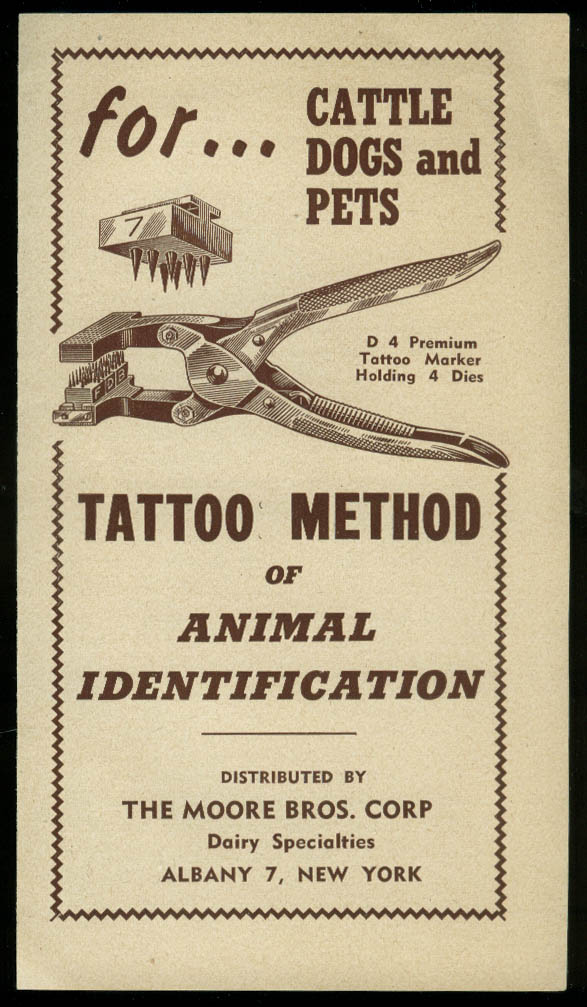 Moore Bros Tattoo Method for Cattle Dogs Pet Identification folder ca 1930s