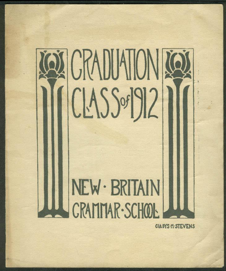 New Britain Grammar School Class of 1912 Graduation Program CT