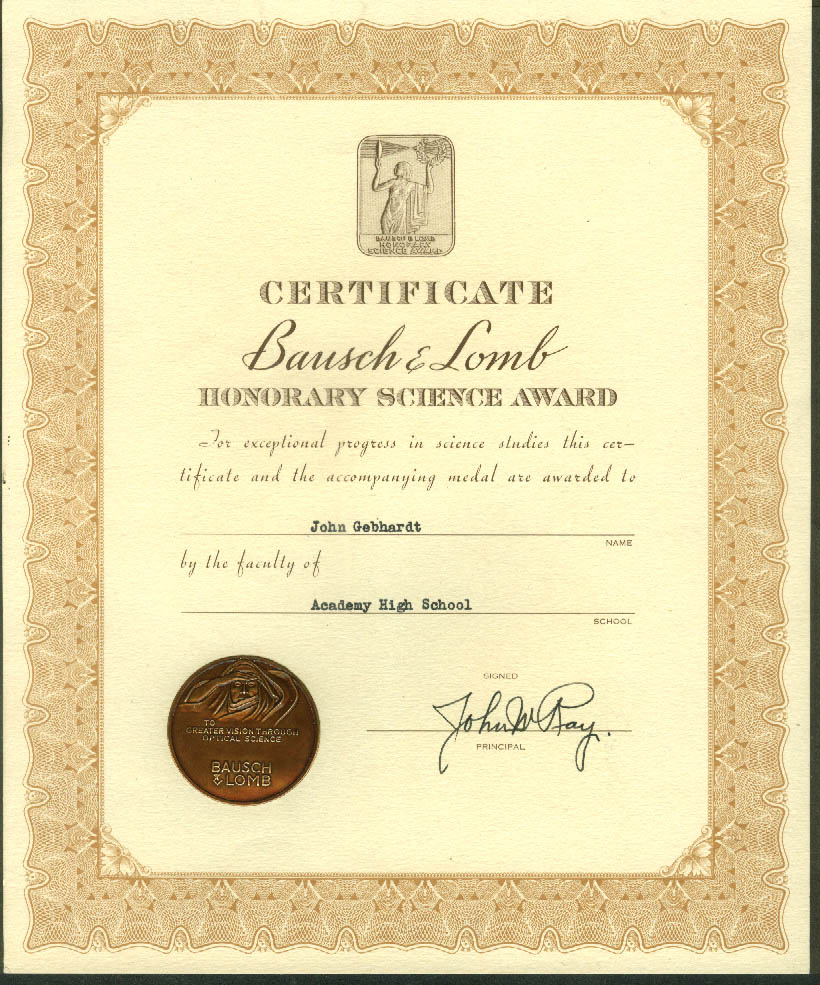 Bausch & Lomb Honorary Science Award Certificate Academy High ca 1950s