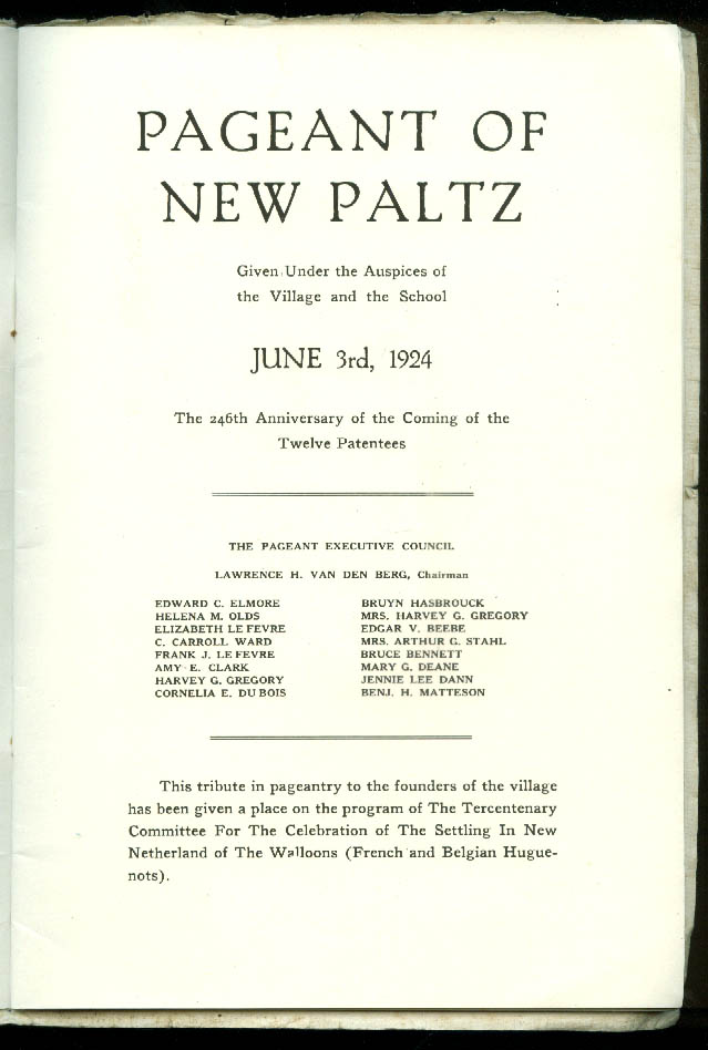 Historical Pageant of Old New Paltz NY Program 6/3 1924