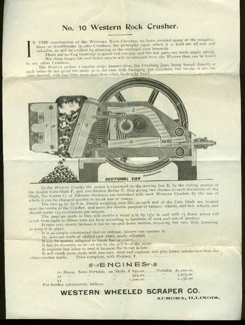Western Wheeled Scraper Co Rock Crusher sales flyer Aurora IL ca 1900