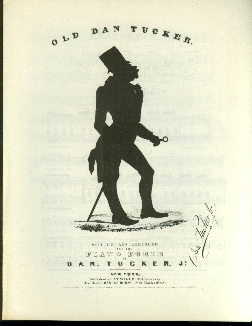 Old Dan Tucker black sheet music 1843 facsimile reprint Brown U 1960s