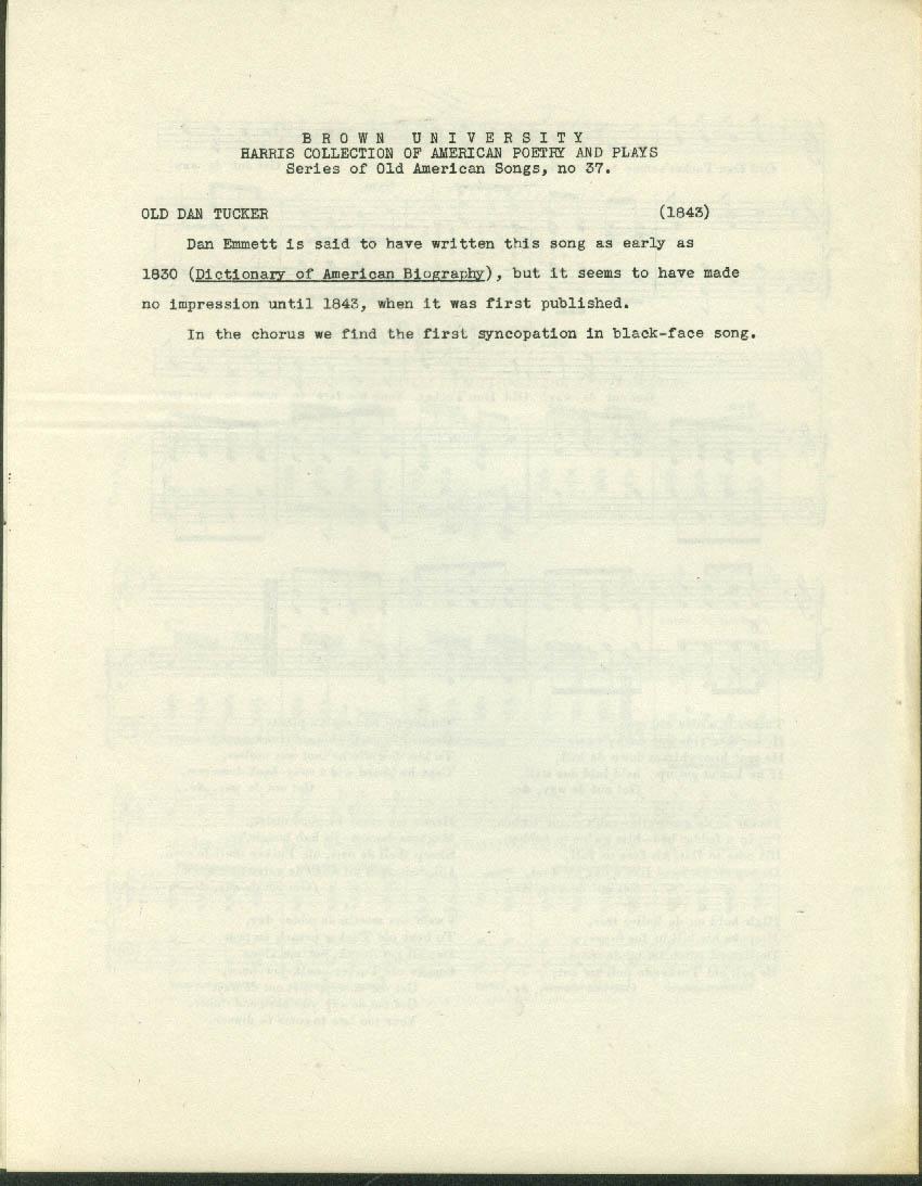 Old Dan Tucker black sheet music 1843 facsimile reprint Brown U 1960s