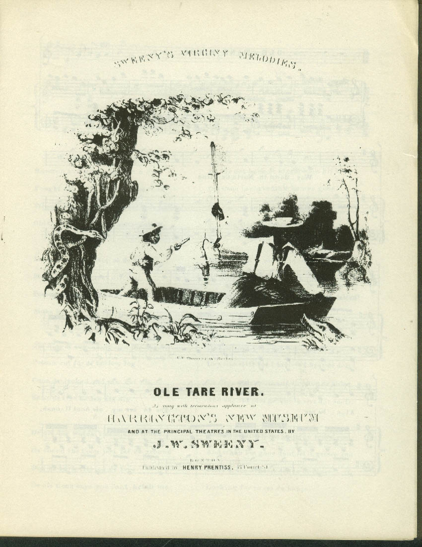 Old Tare River black sheet music 1840 facsimile reprint Brown U 1960s