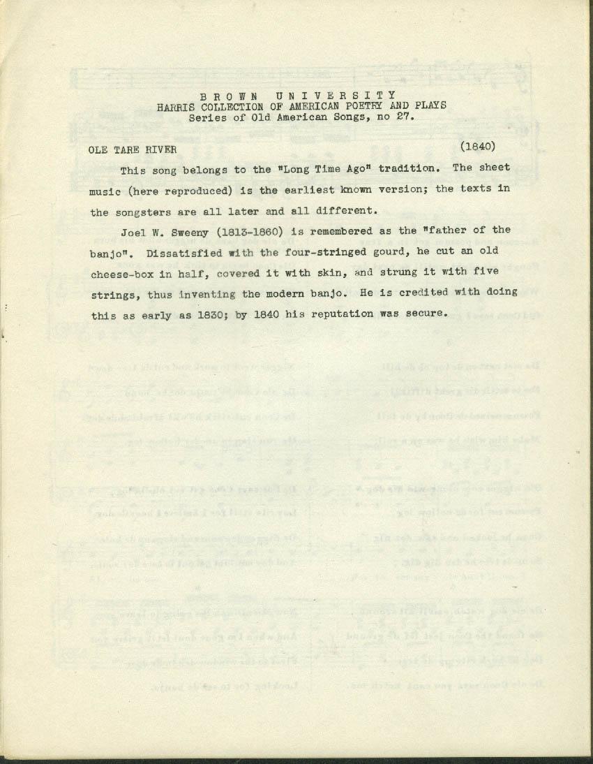 Old Tare River black sheet music 1840 facsimile reprint Brown U 1960s