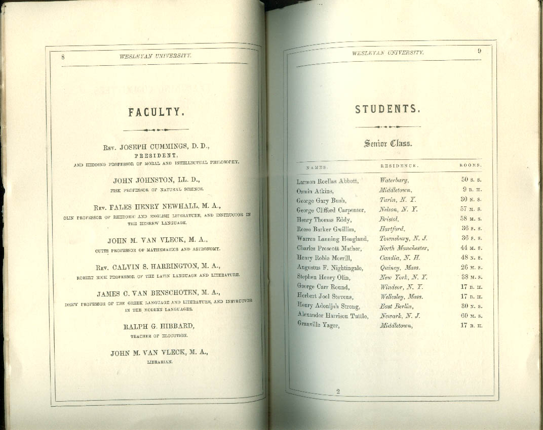 Wesleyan University Bulletin 1876-1866 with student lists Middletown CT