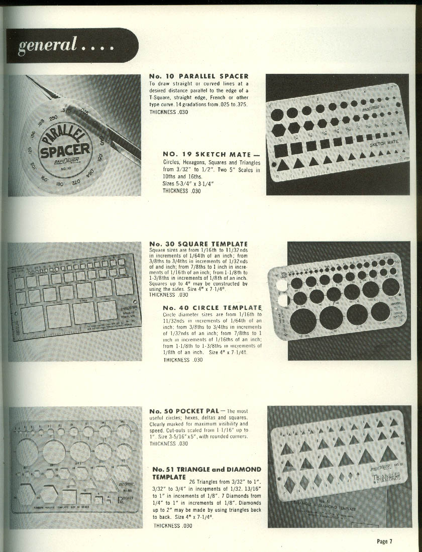 RapiDesign Drafting Templates Catalog 1961