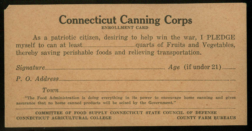 Connecticut Canning Corps Enrollment Card World War I 1918