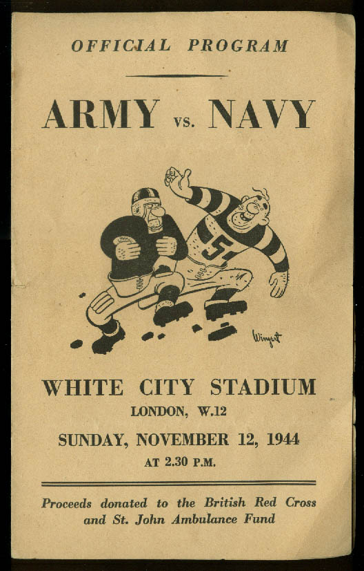 US Navy vs 8th Air Force Shuttle Raiders Football Program London 1944